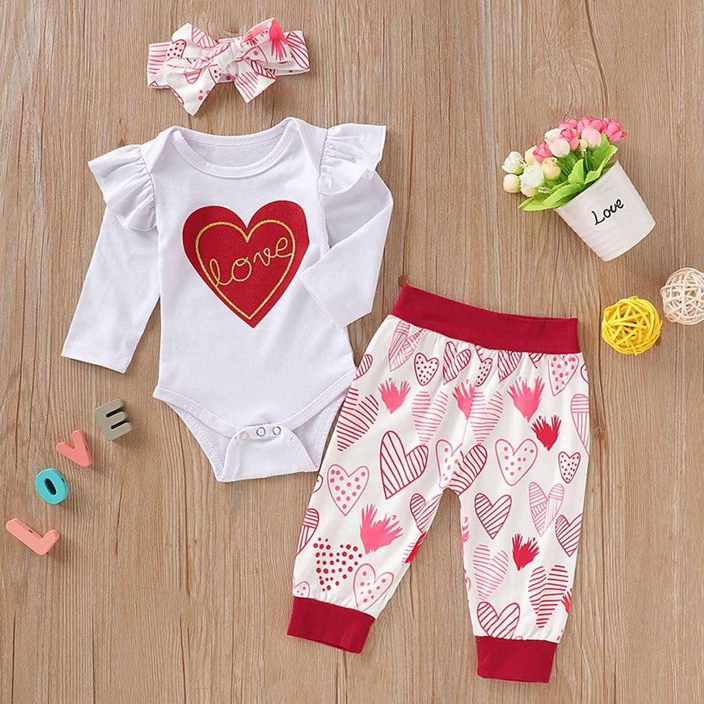 WOCACHI Baby Girls Bodysuits Pants Sets Infant Valentines Day Romper Sweatpants Headbands Cap 3Pcs//4PCS Outfits Set