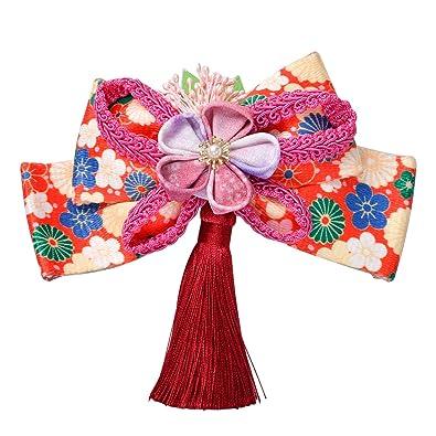 fb14f1b7b5356 髪飾り リボン 花 クリップ式 つまみ細工 かんざし 下がり付き 和装 着物 浴衣 成人式