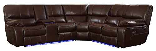 Homelegance Pecos 105 x 95 Leather Gel Power Reclining Sectional with LED, Brown