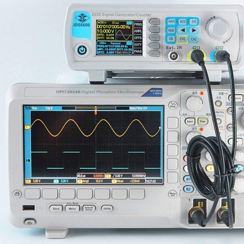 SODIAL numerique a Double Canal Fonction DDS generateur de signaux dimpulsions arbitraires 1Hz-100Mhz Frequencemetre 200MSa s 30MHz Prise Europeenne