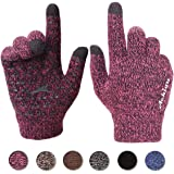 Achiou Winter Touchscreen Gloves Warm for Women Men Knit Wool Lined Texting (Rose Red for Women)