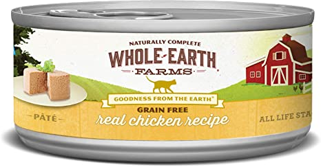 Whole Earth Farms Todo Tierra Real Granjas 24 Count sin Grano Pollo Receta en Lata Cat Food, 2,75 oz.