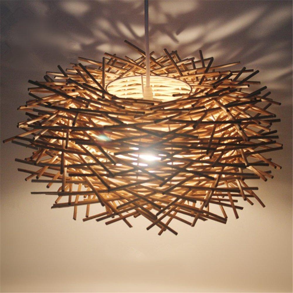 Malovecf Ungewöhnliche Handgemachte Vögel Nest LED Deckenleuchte Twisted Rattan Lampe Pendelleuchten, Braun, 300  170MM