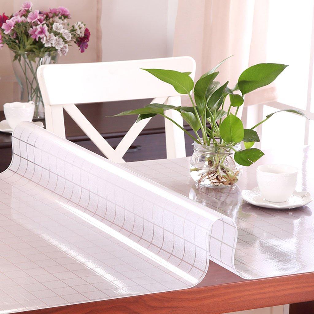 Küchenwäsche PVC Tischdecke, Weißhe Glas Tischmatten Wasserdichte Kristallplatte Kaffeetisch Tuch Tischdecke 1.2MM ( Farbe   A , größe   90150CM ) B 85135CM
