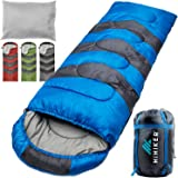 HiHiker Camping Sleeping Bag + Travel Pillow w/Compact Compression Sack – 4 Season Sleeping Bag for Adults & Kids – Lightweig