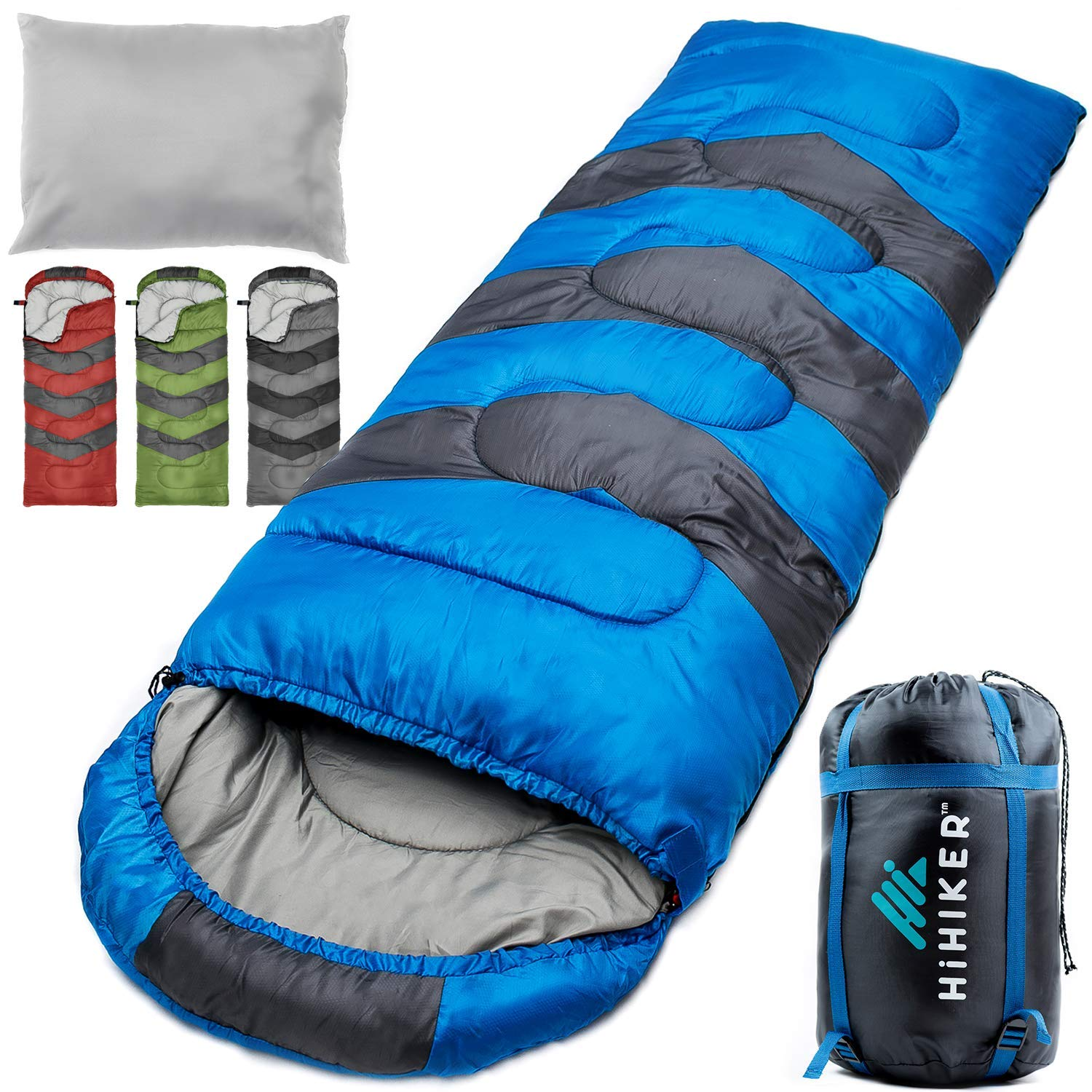 HiHiker Camping Sleeping Bag + Travel Pillow w/Compact Compression Sack - 4 Season Sleeping Bag for Adults & Kids - Lightweight Warm and Washable, for Hiking Traveling & Outdoor Activities (Blue) by HiHiker