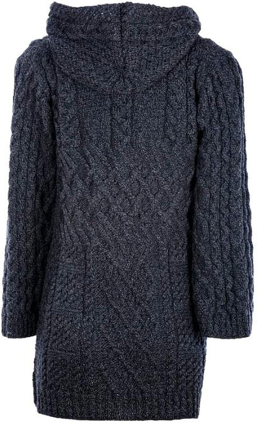 Aran Woollen Mills Traditional Irish Ladies Merino Wool Cardigan Sweater with Pockets