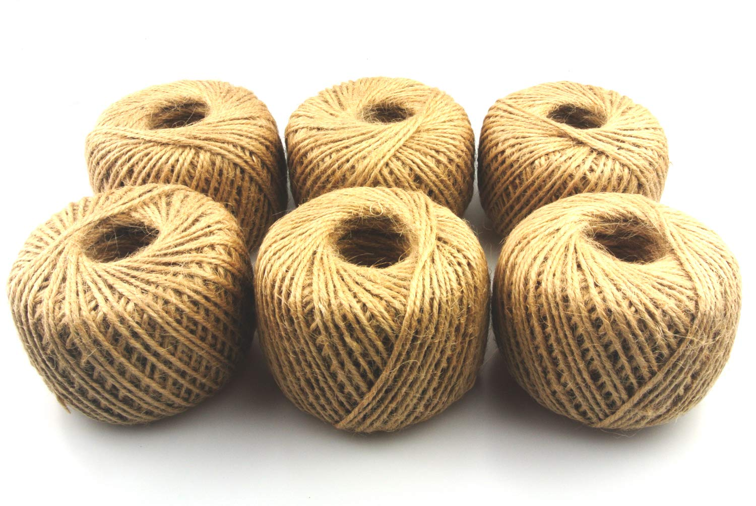 Maydahui 1968 Feet Natural Jute Twine Ball (Pack of 6) - for Arts Crafts Gift Rope Durable String for Packing Materials,Gardening Applications,DIY Crafts, Decoration, Embellishments