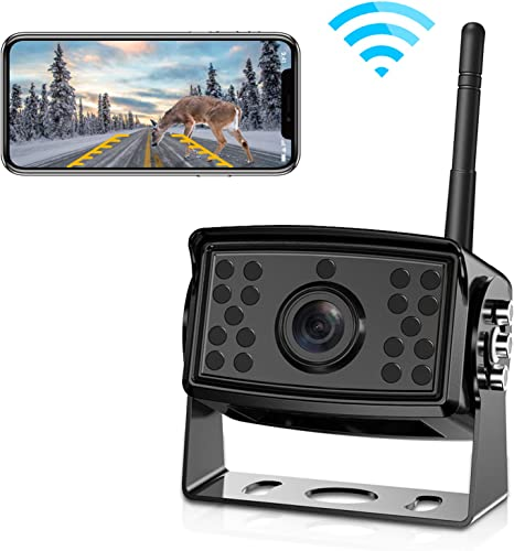 FOOKOO Wireless Phone Backup Camera Reversing for Trucks RV Trailers Campers with Wi-Fi App IP69 Waterproof Parking Guide Lines 158 Degree