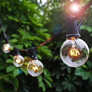 Patio Lights Party String Lights G40 Globe Bulbs Warm White Outdoor Indoor  Night Lighting 25 Bulbs