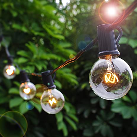 Patio Lights Party String Lights G40 Globe Bulbs Warm White Outdoor Indoor  Night Lighting 25 Bulbs