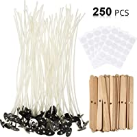 AuFreedo Candle Making Kit,80pieces Candle Wicks with Centering Device,Candle Wicks Stickers and Candle Wicks Tab for Candle Making