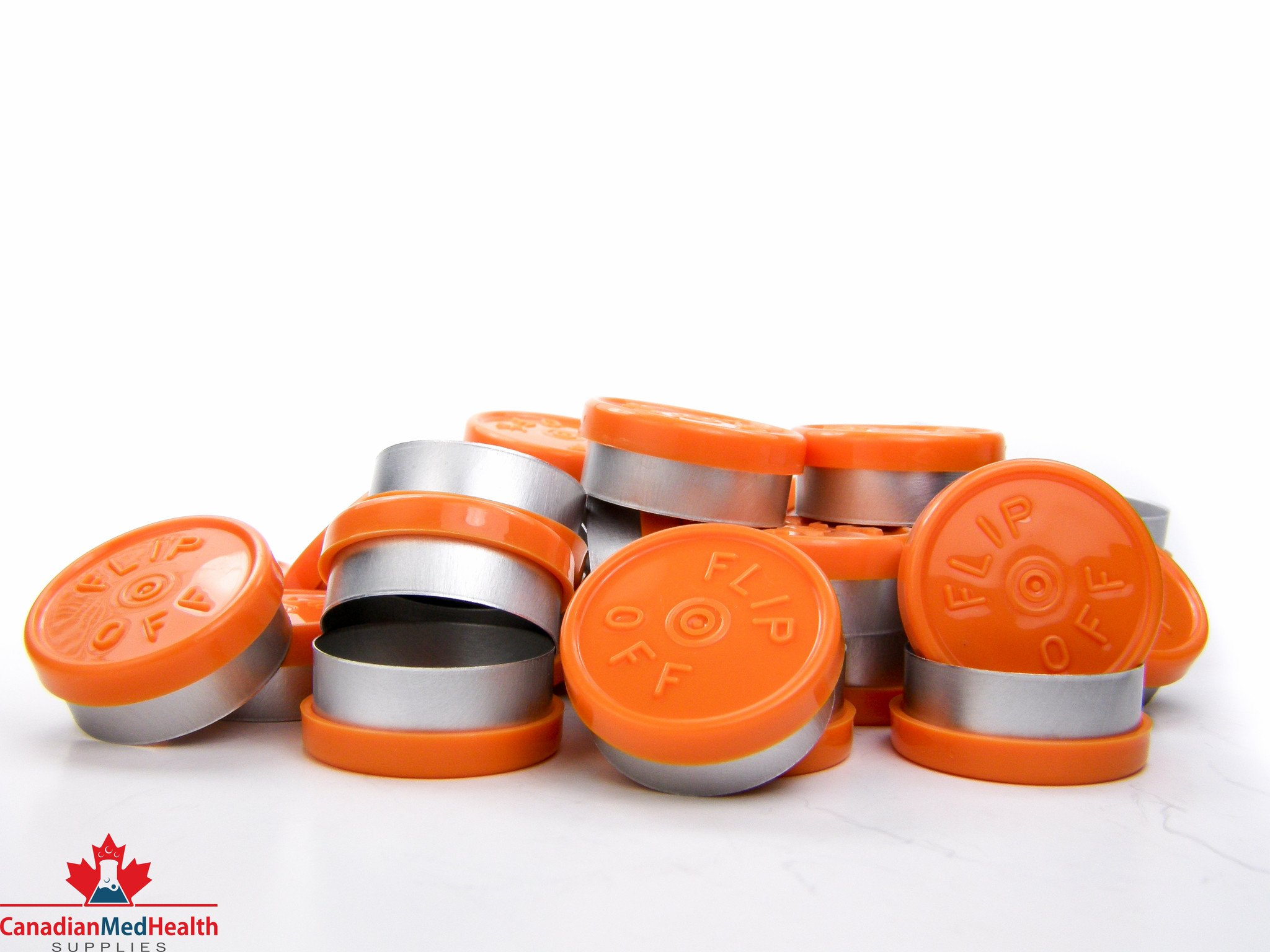 20mm Orange Flip-Off Cap - Flip-Off (100, Bag)