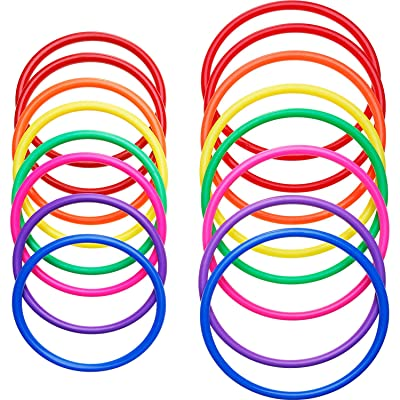 16 Pieces Plastic Multicolor Toss Rings for Speed and Agility Practice Games, Carnival, Garden, Backyard, Outdoor Games, Toss Ring Game (16 Pieces Size A) (16 Pieces Size A): Toys & Games