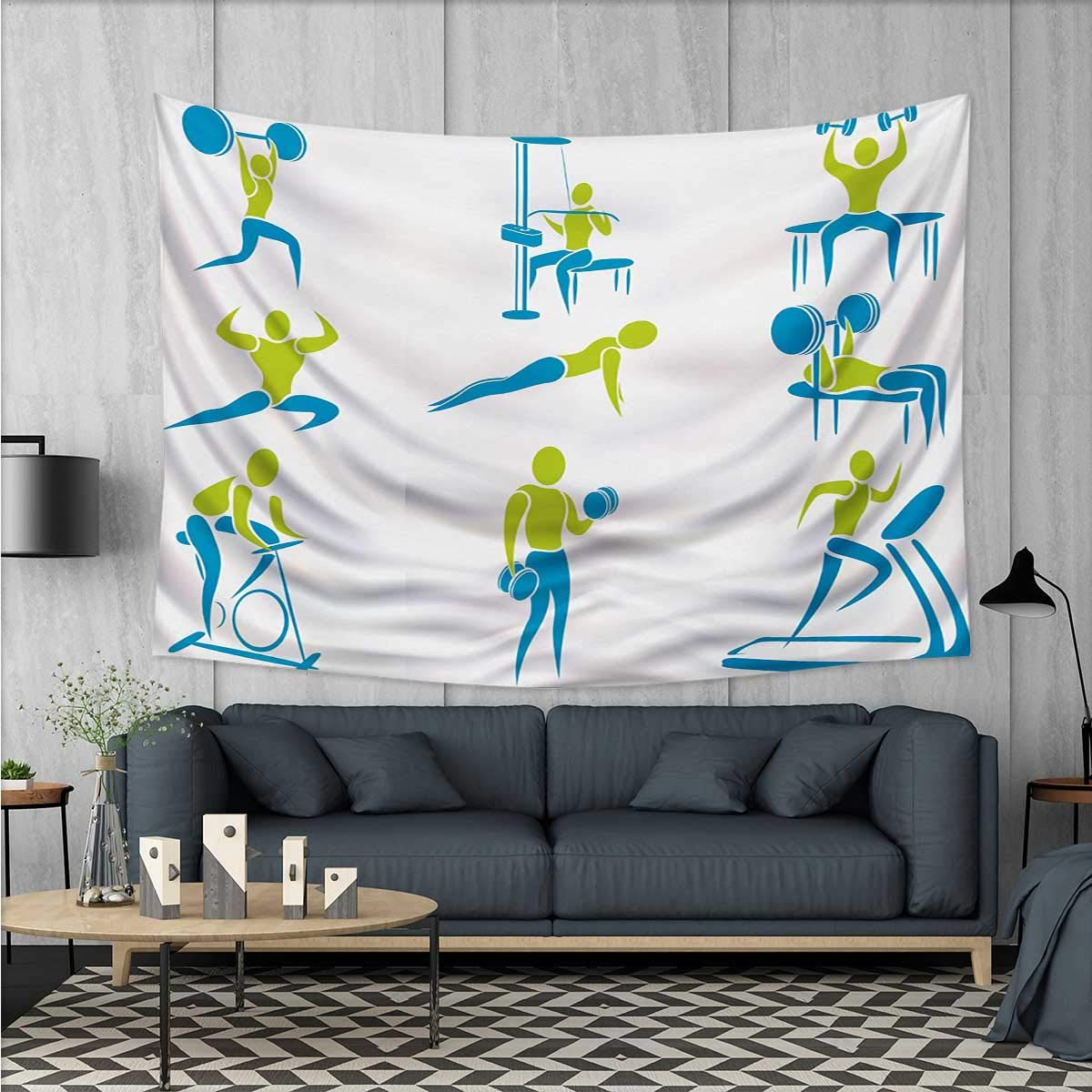 "Fitness Wall Tapestry Icons Showing Different Gym Activities Weightlifting Equipment Home Decorations for Living Room Bedroom 80""x60"" Sky Blue Apple Green White"