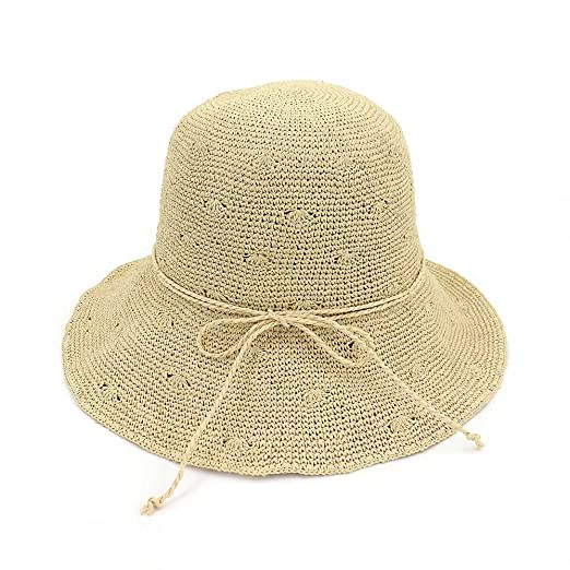 a822f887e84 Aabigale beautiful Summer Women s Straw Hat Foldable Straw Bow Sun Hats For  Women Fine Hand Crochet
