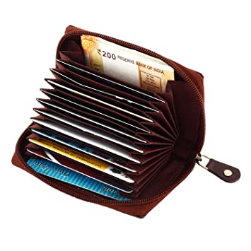 watch 0bd33 38621 RFID Leather Credit Card Case Wallet with Zipper, TRAJECTORY Genuine Brown  Leather Credit and Debit Card Holder with RFID Blocking Small Accordion ...