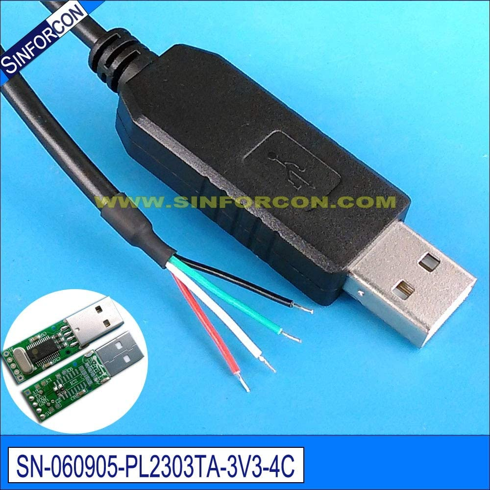 ShineBear win7 8 10 pl2303ta USB uart TTL 3.3v Wire end for Programming Flashing debug Cable for mcu PLC Cable Length: 20cm