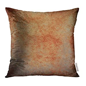 Emvency Throw Pillow Cover Abstract Brown Rust Color Stain Splash Messy Dirty Vintage Gray Neutral Old Rough Distressed Copper Decorative Pillow Case Home Decor Square 18x18 Inches Pillowcase