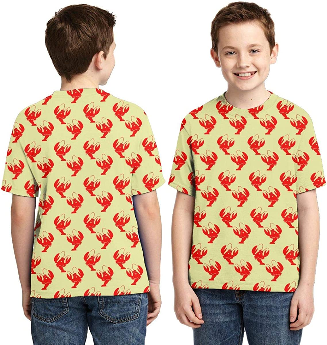 You are My Lobster Pattern Boys Print Graphic Tee Short Sleeve T-Shirt