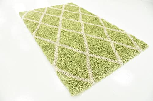 Unique Loom Opulence Trellis Shag Collection Plush Geometric Modern Moroccan Light Green Area Rug 5 0 x 8 0