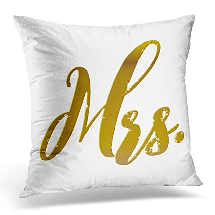 Amazon TORASS Throw Pillow Cover Mr And Mrs Metallic Gold Foil Mesmerizing Mr And Mrs Decorative Pillows