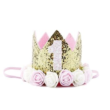 Amazon.com   Baby Princess Tiara Crown Baby Girls First Birthday Hat  Sparkle Rose Flower Crown Birthday Headband Hair Accessories for Baby  Shower 1st 2nd ... 0779bf6ce49