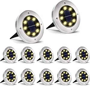 INCX Solar Ground Lights, 8 LED Garden Lights Solar Powered,Disk Lights Waterproof In-Ground Outdoor Landscape Lighting for Patio Pathway Lawn Yard Deck Driveway Walkway,Warm White 12 Packs