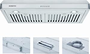 30 Inch Under Cabinet Range Hood Kitchen Vent Hood,Built in Range Hood for Ducted in Stainless Steel, 400 CFM with Permenant Stainless Steel Filters