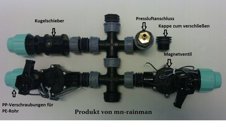 Vormontierter Verteiler für Ventilbox inkl. Rain Bird Magnetventil Bewässerung , Anschluß 32 mm Pe-Rohr (2 Zonen)