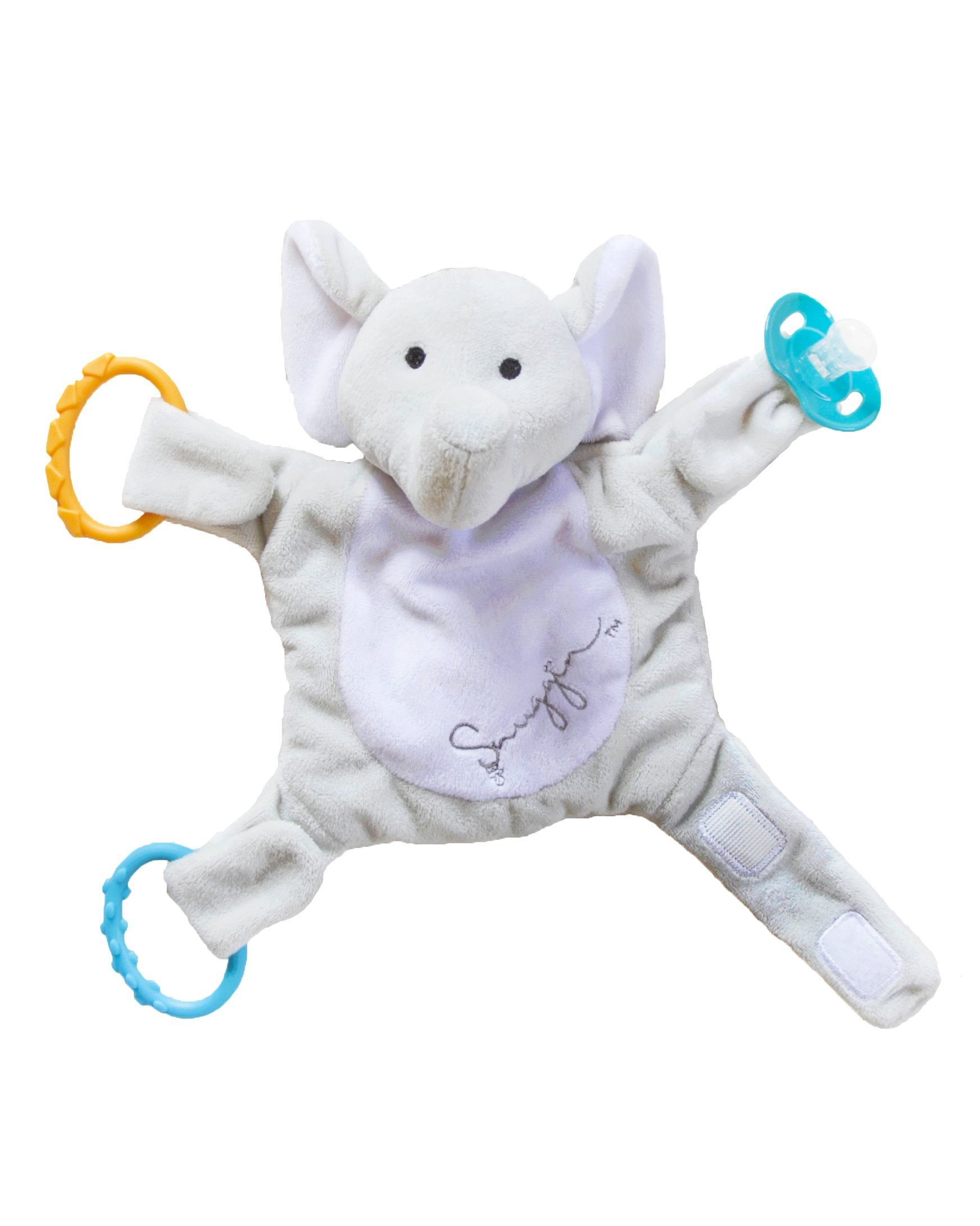 Snuggin - The Comforting Day and Night Lovey Miracle for Babies (Gray Elephant) - Plush Stuffed Animal Pacifier and Teether Holder