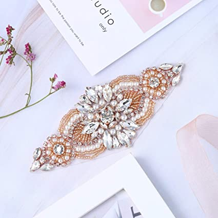 Image Unavailable. Image not available for. Color  XINFANGXIU Rose Gold Iron  on Rhinestone Garter Appliques Crystal Wedding Patch Motif Sew on Hot Fix 1ea78744ba73