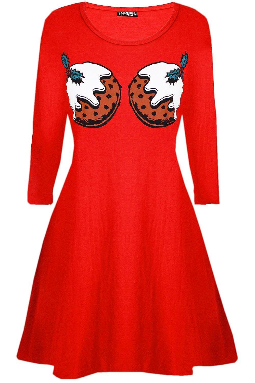 Be Jealous Womens Ladies Santa Reindeer Wall Snowflake Costume Christmas Xmas Swing Dress UK Plus Size 8-26