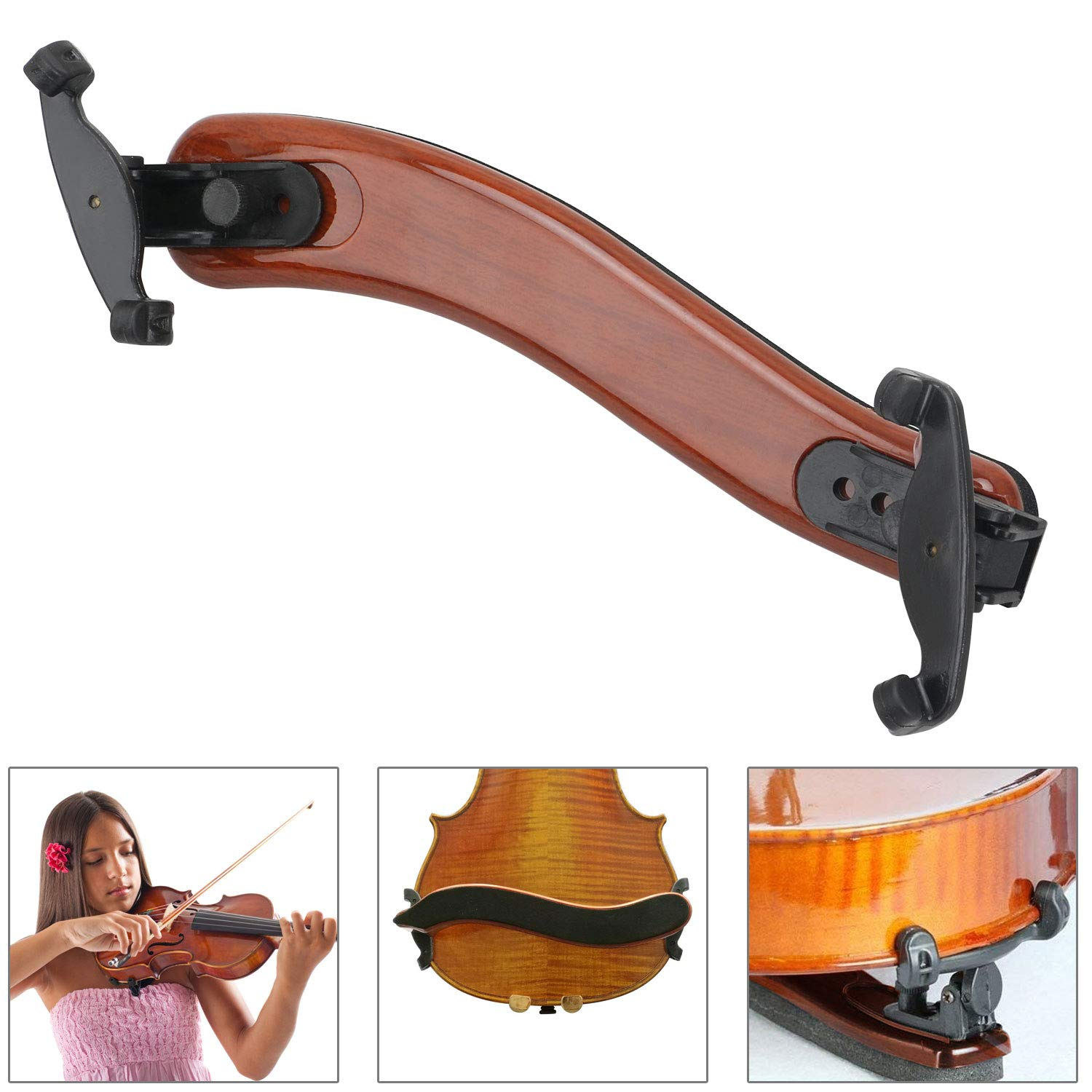 STYDDI Adjustable Violin Shoulder Rest for 4/4, 3/4 Sizes, Collapsible, Universal Violin Shoulder Pad for Height and Angle