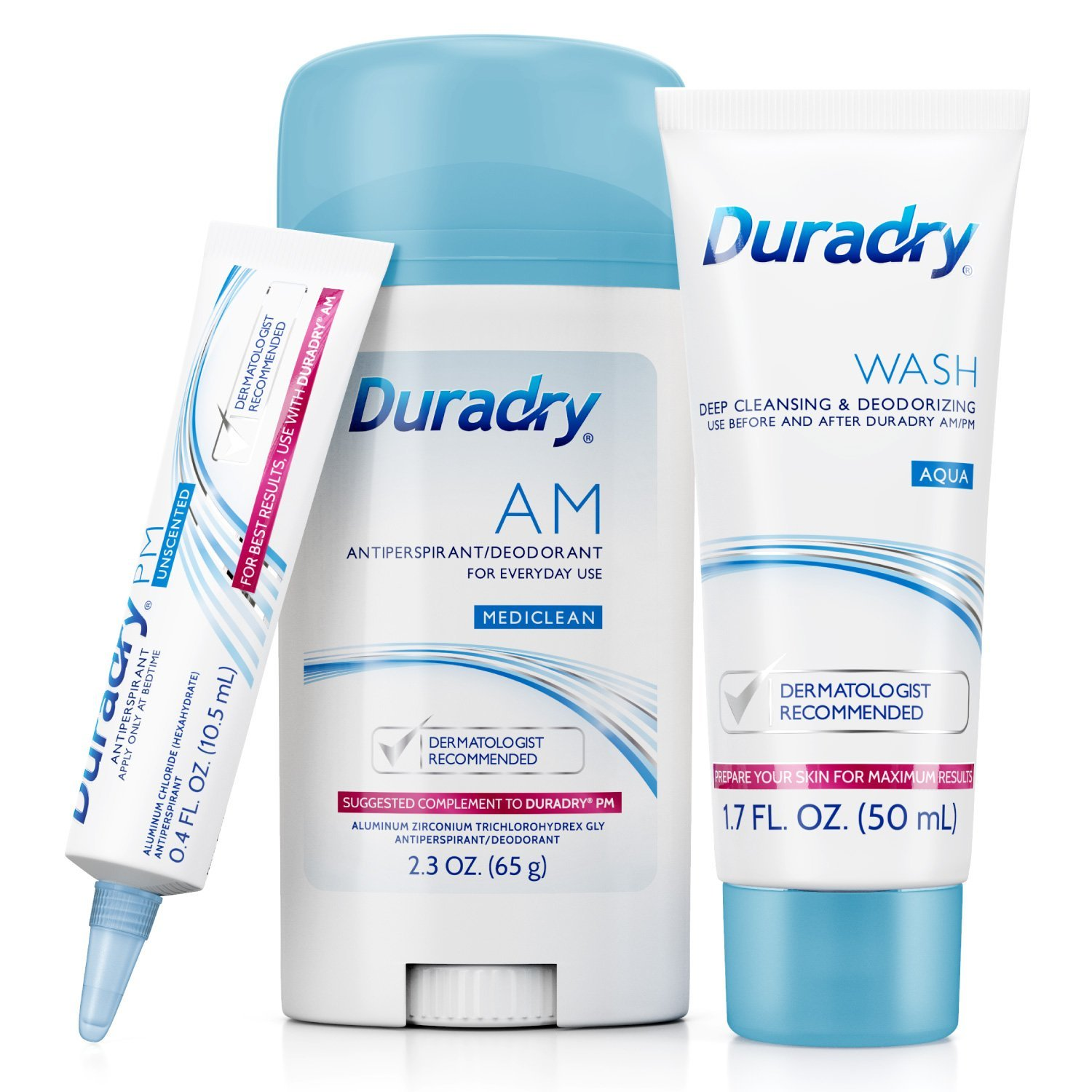 Duradry 3-Step Protection System - Prescription Strength Antiperspirant Deodorants Specially Formulated For Excessive Sweating or Hyperhidrosis. Block Sweat and Odor