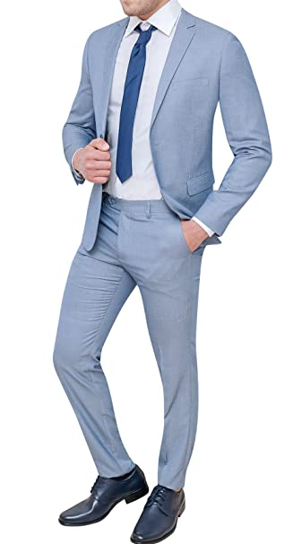 2c1702a8f347 Abito completo uomo sartoriale celeste chiaro slim fit vestito elegante  cerimonia  Amazon.it  Abbigliamento