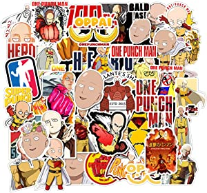 Cartoon One Punch Superman Stickers for Water Bottles 49Pcs Cute,Waterproof,Aesthetic,Trendy Stickers for Teens,Girls Perfect for Waterbottle,Laptop,Phone,Travel Extra Durable Vinyl