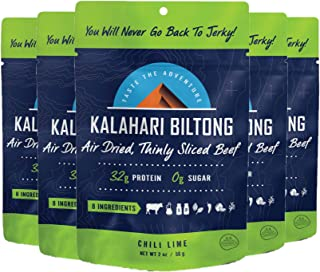 product image for Lime Chili Kalahari Biltong, Air-Dried Thinly Sliced Beef, 2oz (Pack of 5), Sugar Free, Gluten Free, Keto & Paleo, High Protein Snack