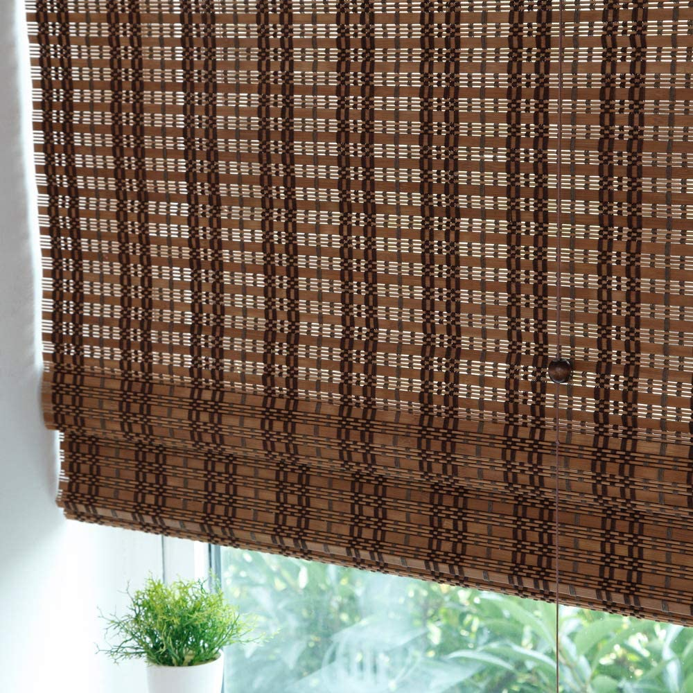LETAU Wood Window Roman Shades, Bamboo Light Filtering Window Blinds for Indoor Home, Kitchen, Office, Pattern 2