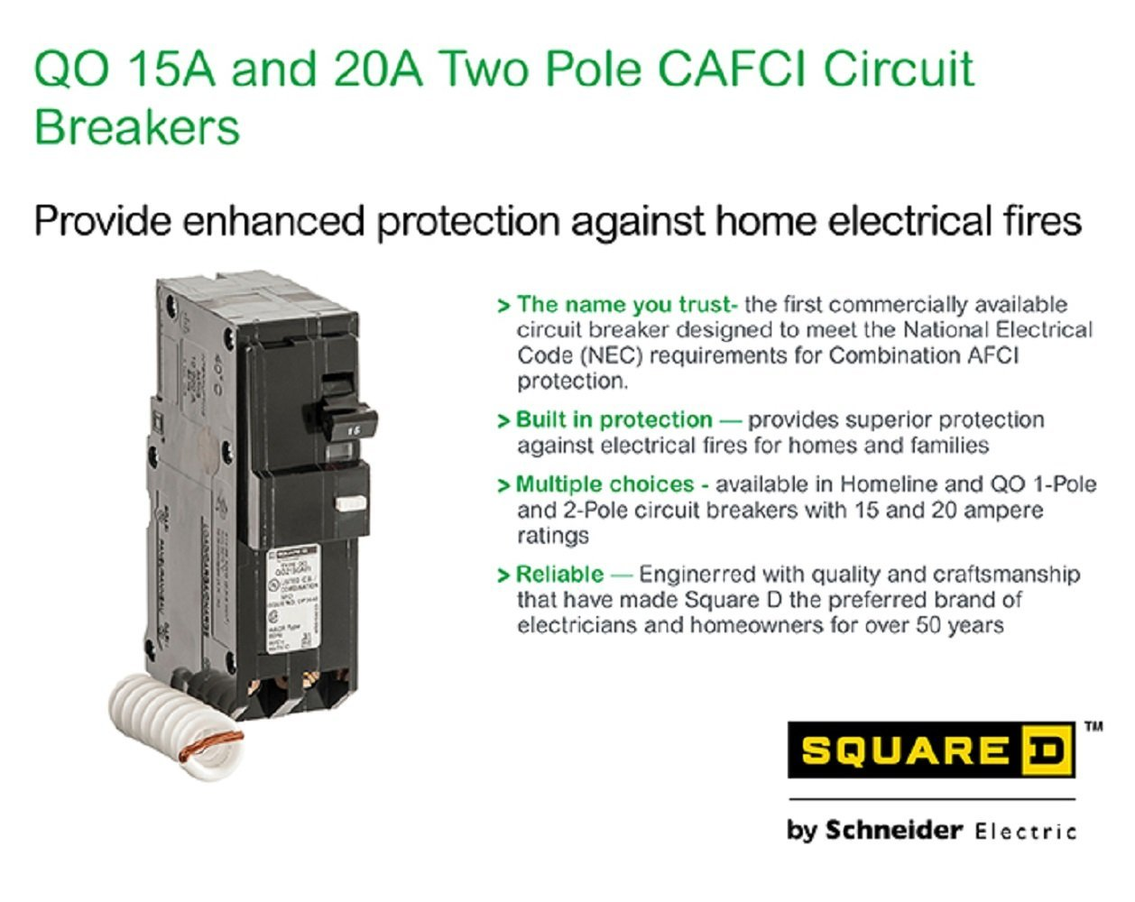 Fault Circuit Breaker Besides Arc Wiring Diagram Square D By Schneider Electric Qo 15 Amp 35 In Two Pole Cafci Thermal Magnetic Breakers Amazon Canada