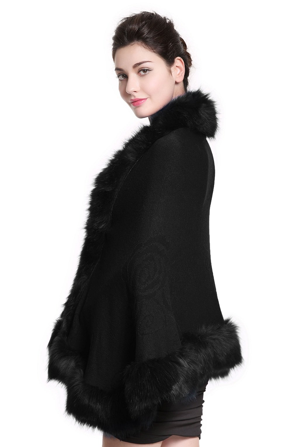 Faux Fur Shawl Wrap Stole Shrug Bridal Winter Wedding with Hook,Black,One Size by BEAUTELICATE