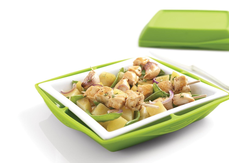 mastrad F67508 - Recipiente para Cocina al Vapor (Silicona y Porcelana), Color Verde