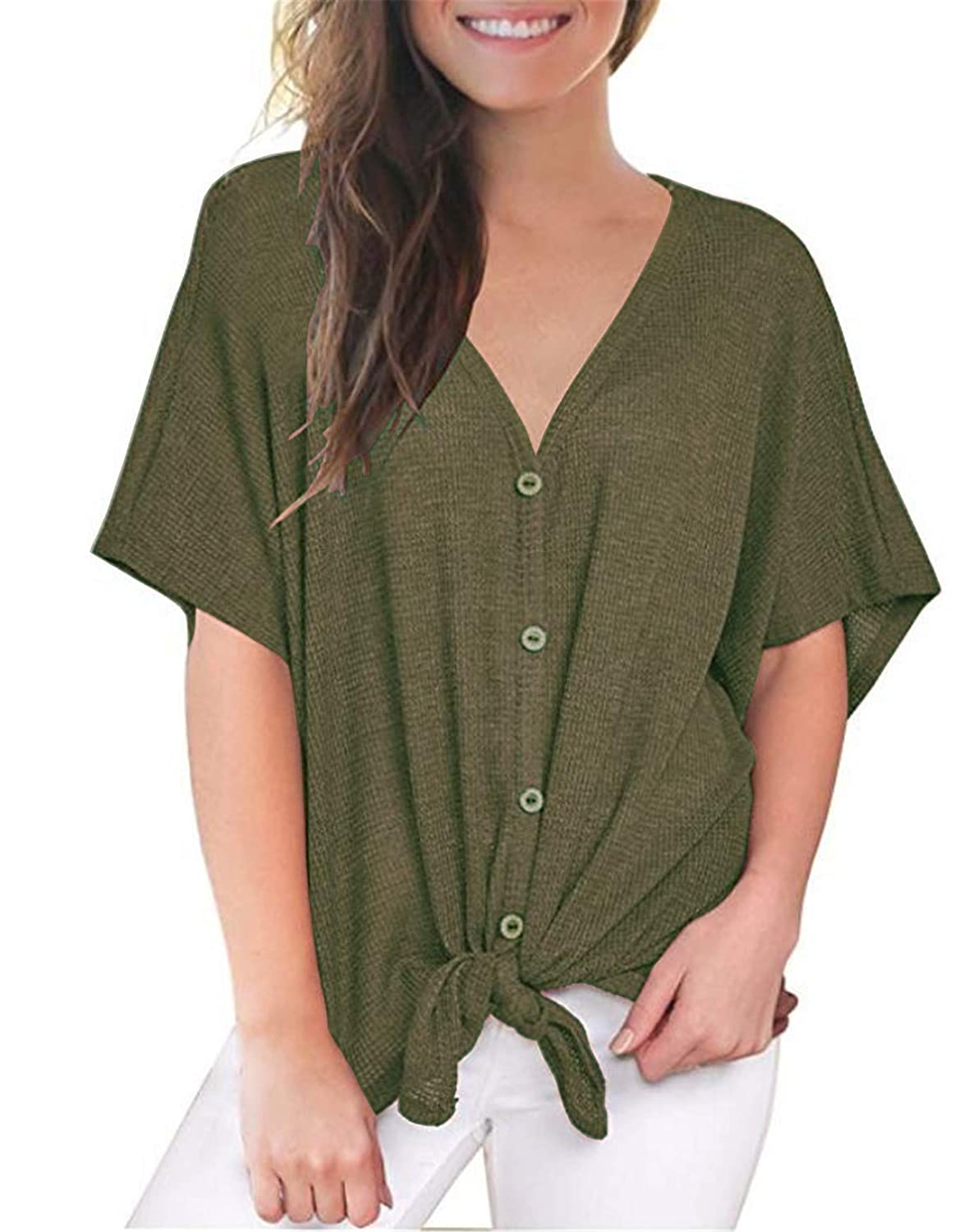 7a83387a8b3d UGET Womens Loose Blouse V Neck Button Down T Shirts Tie Front Knot Casual  Summer Shirt Tops at Amazon Women's Clothing store: