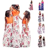 Wocachi Mommy and Me Dresses Floral Print Tie Dye Family Outfits Matching Dress Flag Print Casual Summer Jumpsuits
