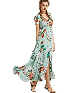 25266850 Milumia Women's Button Up Split Floral Print Flowy Party Maxi Dress ...