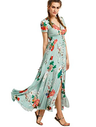 5e45448a549 Milumia Women's Button Up Split Floral Print Flowy Party Maxi Dress X-Small  Light Green