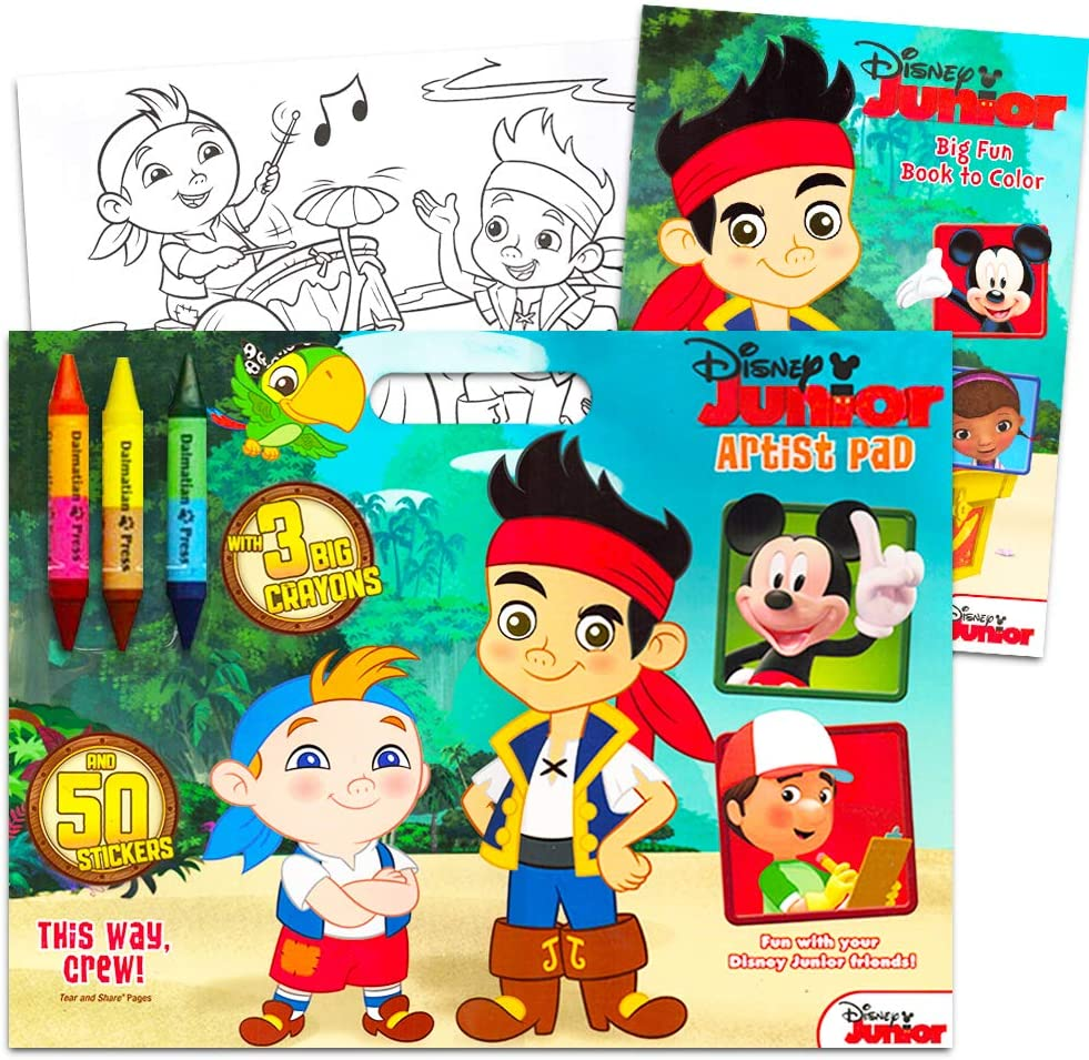 Amazon Com Disney Jake And The Neverland Pirates Coloring And Activity Book Set 2 Books 96 Pgs Each Toys Games