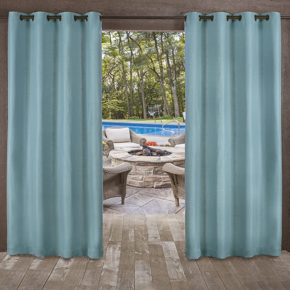 Exclusive Home Curtains EH8169-02 2-84G Delano Heavyweight Textured Indoor/Outdoor Grommet Top Curtain Panel Pair, 54x84, Teal, 2 Piece