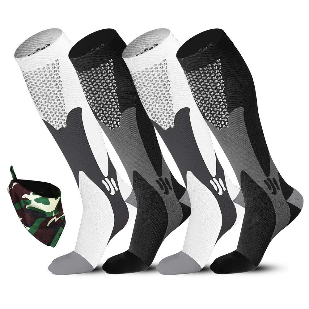 Compression Long Soccer Socks 20-30mmHg Men Women 2 Pairs with Sport Bandana,fit for Medical,Athletic,Travel,Running,Nurse,Crossfit,Best for Enhance Circulation & Muscle Recovery Sedremm