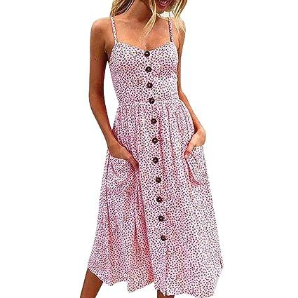 Vestido mujer verano ❤ Amlaiworld Vestido sin mangas con hombros descubiertos imprimen botones Vestido de